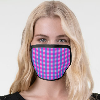 Shocking Pink and Blue Gingham Pattern Face Mask