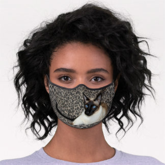 Siamese Cat on Leopard Print Wild Animal Spots Premium Face Mask