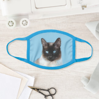Siamese Cat Painting - Cute Original Cat Art Face Mask