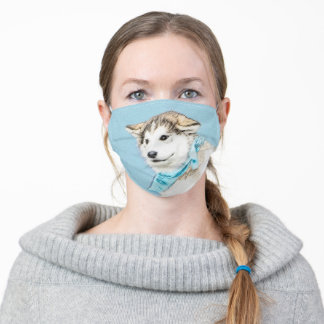 Siberian Husky Puppy Painting - Original Dog Art Adult Cloth Face Mask