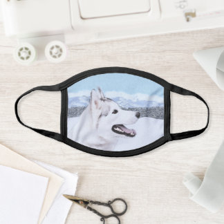 Siberian Husky (Silver and White) Painting Dog Art Face Mask