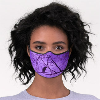 Silhouette of Black Crow in Barren Trees Purple Premium Face Mask