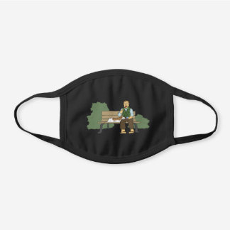 Silly Cartoon Man and Basset Eating Ice Cream Black Cotton Face Mask