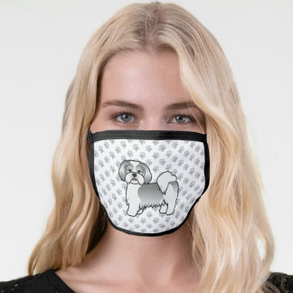 Silver And White Lhasa Apso Cartoon Dog & Paws Face Mask