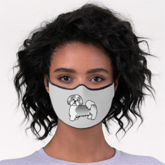 Silver And White Lhasa Apso Cartoon Dog Premium Face Mask