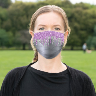 Silver glitter drips purple glam teen girl adult cloth face mask