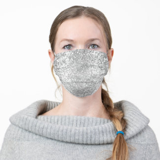 silver mosaic pattern adult cloth face mask