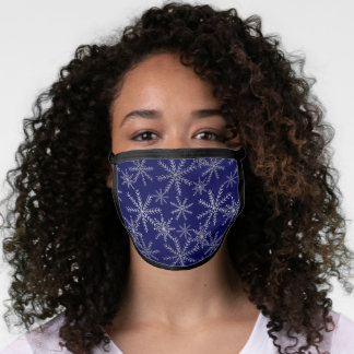 Silver Snowflakes on Blue Face Mask