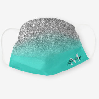 Silver Turquoise Glitter Ombre Monogram Cloth Face Mask