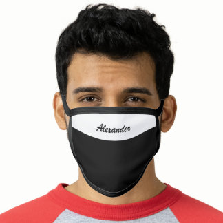 Simple Black Add Your Own Name Face Mask