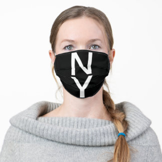 Simple Black New York City State Abbreviation Adult Cloth Face Mask
