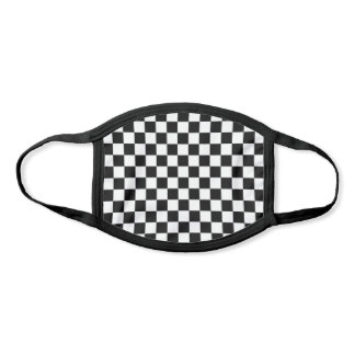 Simple Black White Auto Car Race Checkered Flags Face Mask