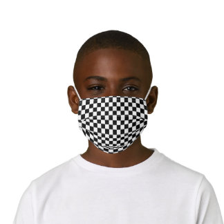 Simple Black White Auto Car Race Checkered Flags Kids' Cloth Face Mask