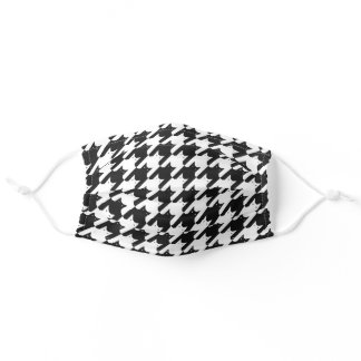 Simple Black White Cats Houndstooth Pattern Funny Adult Cloth Face Mask