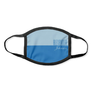 Simple Blue Modern Name Monogram Face Mask