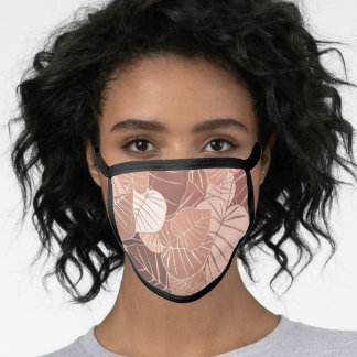 Simple Brown Autumn Leaves Foliage Background   Face Mask