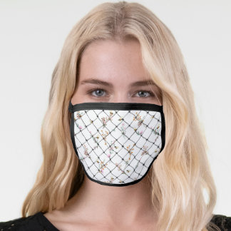 Simple Chainlink Fence with Flowers Bumble Bees Face Mask