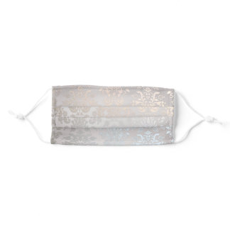 Simple Chic Modern Beauty Silver Grey Nacre Damask Adult Cloth Face Mask