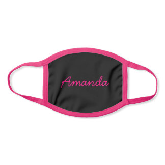 Simple Cute Name or Word Pink Customizable Script Face Mask