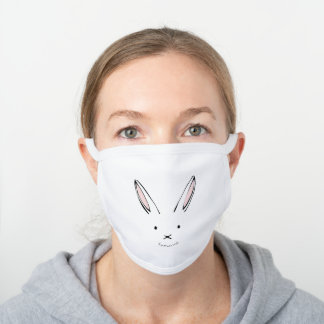 Simple Cute Rabbit Personalized White Cotton Face Mask