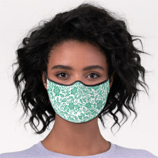 Simple Dark Jade Green White Floral Paisley Art Premium Face Mask