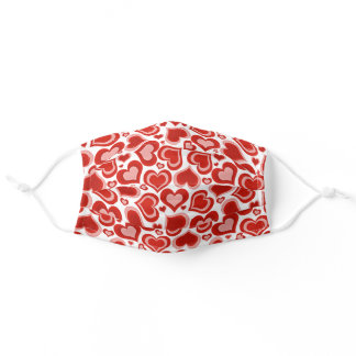Simple Dark Red Blush Coral Pink Heart Pattern Adult Cloth Face Mask