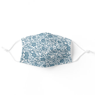 Simple Dark Teal Blue White  Floral Paisley Art Adult Cloth Face Mask