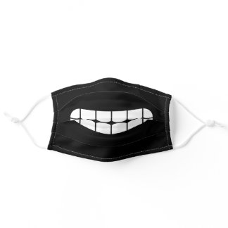 Simple Funny Smile Emoji Black And White Adult Cloth Face Mask