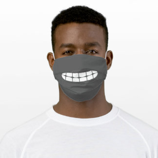 Simple Funny Smile Emoji middle gray Adult Cloth Face Mask