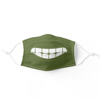 Simple Funny Smile Emoji Olive Green Adult Cloth Face Mask