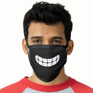 Simple Funny Smile Teeth Emoji Black And White Face Mask