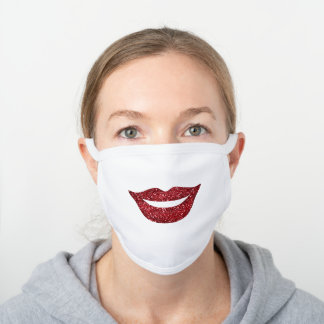 Simple Girly Faux Glitter Red Lips Smile Face White Cotton Face Mask