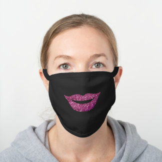 Simple Girly Faux Purple Glitter Lips Smile Face Black Cotton Face Mask