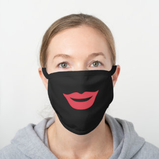 Simple Girly Red Lips Smile Face Black Cotton Face Mask
