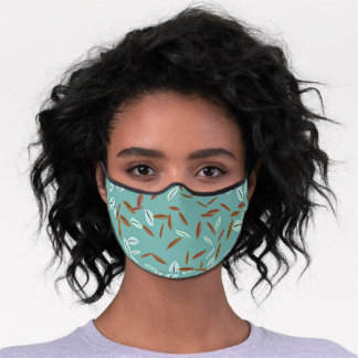 Simple Gray Brown Leaves Pattern On Teal Green Premium Face Mask