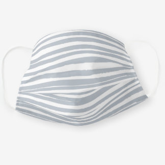 Simple Grey White Lines Cloth Face Mask