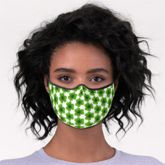 Simple Happy St Patrick's Day Shamrock Pattern Premium Face Mask