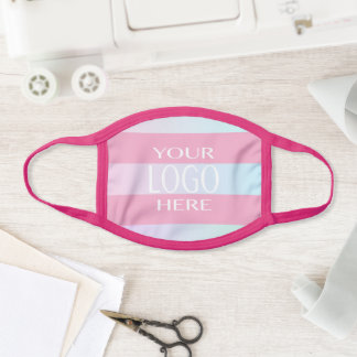 Simple Logo Replacement/Pink & Ombre Stripes Face Mask
