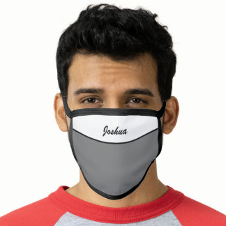 Simple Modern Gray Name Face Mask