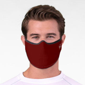 Simple Monogram Burgundy Red Chic Solid Color Premium Face Mask