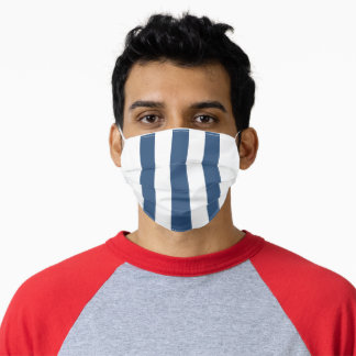 Simple Nautical Navy Blue and White Striped  Adult Cloth Face Mask