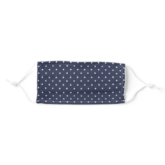 Simple Navy and White Polka Dot Adult Cloth Face Mask