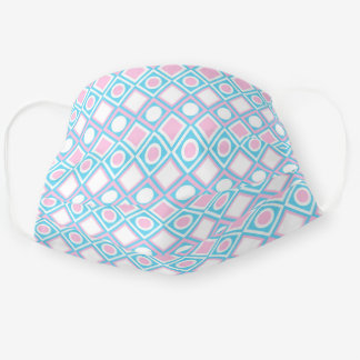 Simple Pastel Pink Light Blue Circles Squares Adult Cloth Face Mask