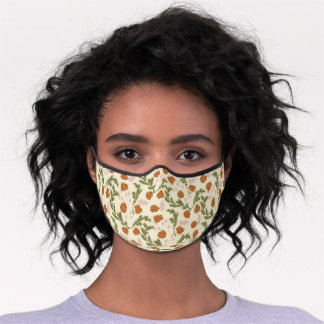 Simple Pinetree Pinecones Green Needles Pattern Premium Face Mask