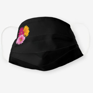 Simple Pink, Yellow & Red Daisies Photo on Black Cloth Face Mask