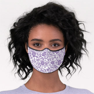 Simple Purple And White Floral Paisley Art Premium Face Mask