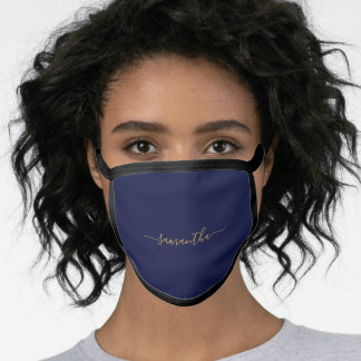 Simple Solid Navy Blue Color Personalized Name Face Mask