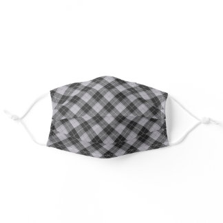 Simple tartan pattern in grey adult cloth face mask