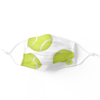 simple three tennis balls monogrammed adult cloth face mask