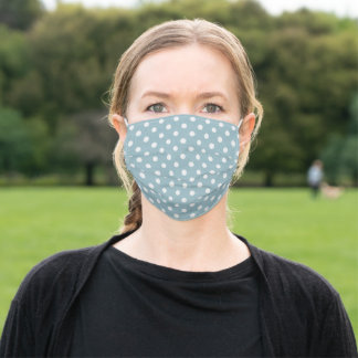 Simple White Polka Dots Watercolor Pattern Adult Cloth Face Mask